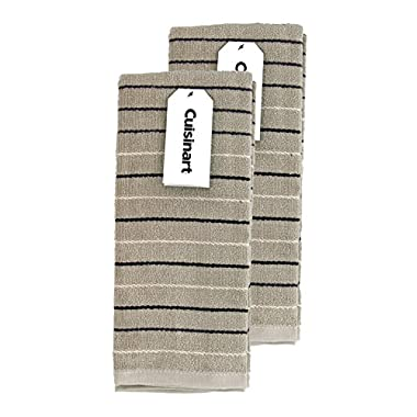 Cuisinart Kitchen, Hand and Dish Towels - Premium 100% Cotton Terry, Tan – Soft, Absorbent, Quick Drying and Machine Washable Tea Towels – Dobby Stripe, Set of 2, 16 x 26 Inches