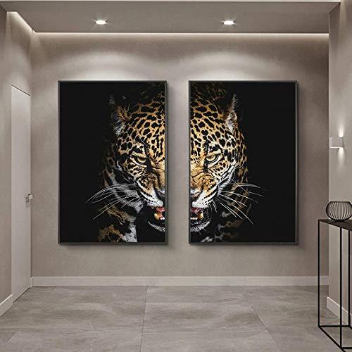 YHJK Imagen de póster Carteles e Impresiones de Cara de Medio Leopardo Animales Pinturas abstractas en la Pared Arte nórdico Imágenes de Animales Salvajes 2x60x80cm sin Marco