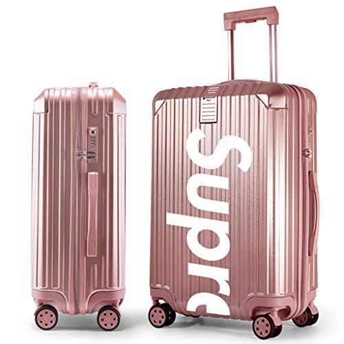 WangYi Zaino Trolley Caso - Studente Valigia personalità della Moda, Maschio e Femmina Valigia Rotella Universale bloccare box20 22' 24'26' 29' (Color : Rose Gold, Size : 20in)