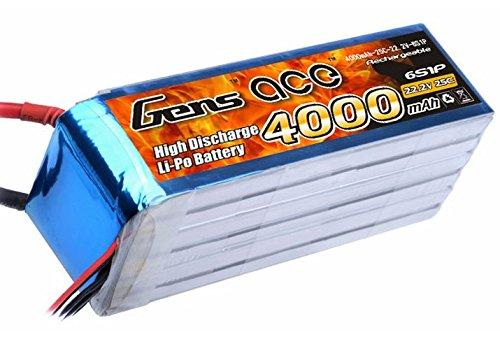 Gène Ace 4000 mAh 22,2 V 25 C 6s1p Lipo Batterie Pack pour modélisme RC Car Heli Bâche Boat Truck FPV Voiture hélicoptère Avion Toys comme Align Trex 500/600, GAUI, Align Trex 550E