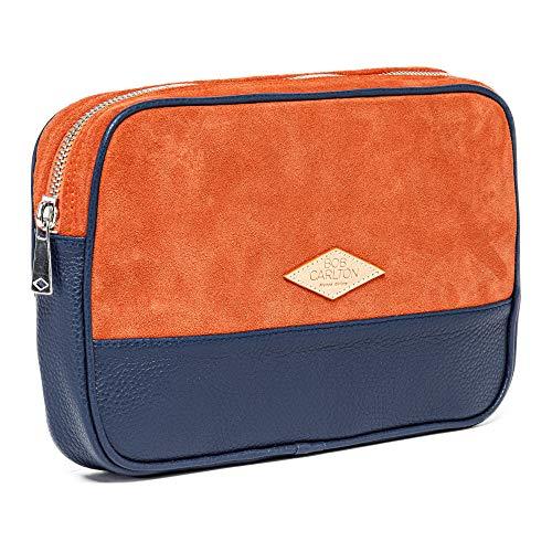 Bob Carlton – Bolso para hombre de negocios 29 x 19 x 4 cm – Bolso de piel – La elegancia informal (oso naranja y cuero granulado azul marino