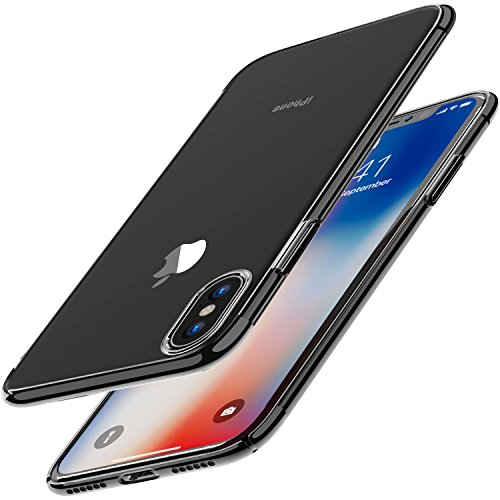 TOZO for iPhone X Case Hard Cover Worlds Thinnest Protect Bumper Shell for iPhone 10 / X Transparent Light Weight Black Plating Edge