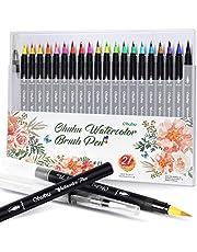 Akvarell penselpennor, Ohuhu 20 livfulla färger akvarellpennor + 1 vattenfärgsborste, vattenfärgat bläck mjukt flexibelt tips för böcker, manga, komik, kalligrafi, penselpenna set