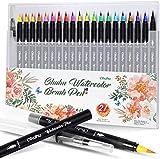 Ohuhu 21 paquetes Acuarela pincel rotulador con pincel para colorear con agua, punta suave y flexible para libros de colorear para adultos, manga, cómic, caligrafía
