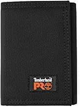 Timberland PRO Men's Cordura Nylon RFID Trifold Wallet with ID Window, black, One Size