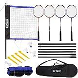GSE Games & Sports Expert Portable Recreational Badminton Set. Including Badminton Net, 4 Badminton Racquets & 3 Nylon Shuttlecocks