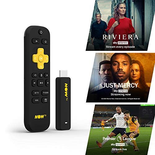 NOW TV Smart Stick with 1 month Entertainment Pass, 1 month Sky Cinema Pass + Sky Sports Day Pass | HD Streaming Media Player – Watch, Disney+, YouTube, Netflix, BBC iPlayer and more