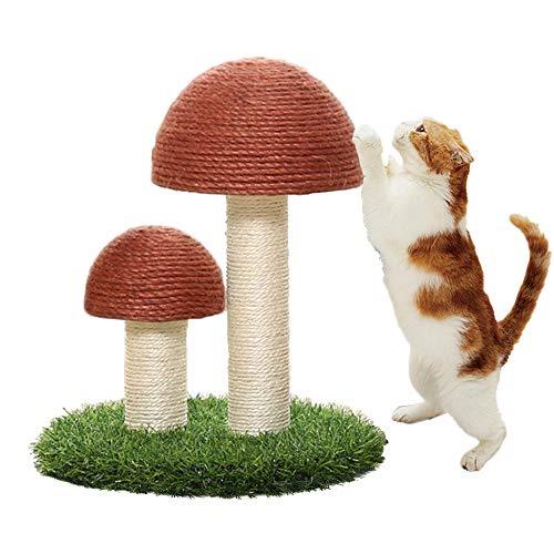 Meipire Leinen Pilz Modell Katzen Klettergerüst, Katzenschleifklauen, Katzenmolarenspielzeug,Katzenkratzbrett, Anti Kratz Pilz & Simulation Rasen für Haustiere (Braun)