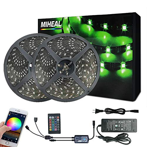 Miheal WiFi Wireless Smart Phone Controlled Led Strip Light Kit with DC12V UL Listed Power Supply Waterproof SMD 5050 65.6Ft(20M) 600leds RGB Music LED Light Strip Compatible with Android, iOS Alexa