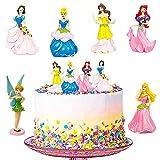 Princesa Cake Topper LLMZ 6Pcs Princesa Sirena Decoración de Tartas Princesa Pastel Topper Caricatura Cumpleaños Tarta Decoración, para Fiesta de Cumpleaños