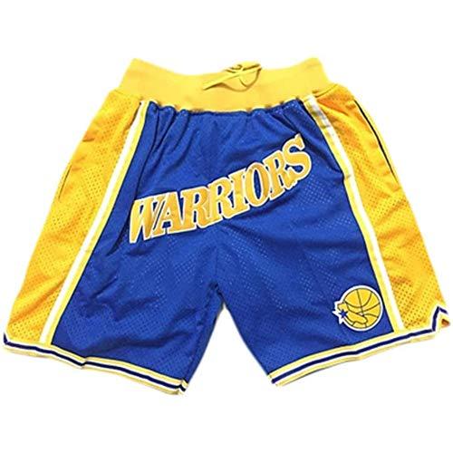 anking Deportes NBA Warriors Curry Blue Ball Pantalones Retro Zip Bordado Bolsillo Bolsillo Baloncesto Shorts Y Cordón, No Se Desvanece, No Se Encoge, Lavable A Máquina,C,XXL