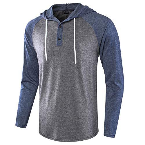 Moomphya Men's Casual Lightweight Long Sleeve Raglan Henley Jersey Hoodie T Shirt (Dark Blue.Dark Grey, Large)