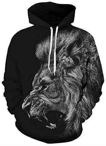 Belovecol Pullover Women Mens Womens 3D Printed Hoodie Funny Lion Graphics Hooded Sweatshirt Unisex Breathable Hoody Jumpers, Roaring Lion, L