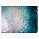 Sand Beach Australia Drone Lilikablau Water Blues Ocean Impressionnantes Affiches pour la décoration de Salle imprimées avec Les dernières Technologies Modernes sur Fond de Papier Semi-Brillant