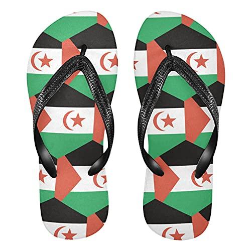 Sandalias de playa para hombre y mujer con bandera árabe del Sáhara Occidental, multicolor, Large