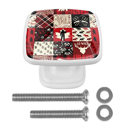 4 pomos de puerta de armario con diseño navideño para armarios, tocadores, cajones, tiradores con tornillos cuadrados de 30 mm