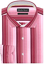 Charles Dino Mens Green Striped Formal Cotton Shirt (Cotton, 46)
