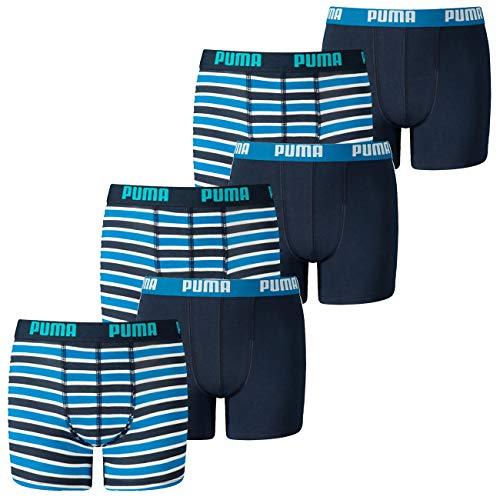 PUMA Jungen Boxershort Basic Boxer Printed Stripe 4er 6er 8er Multipack 128 140 152 164 176 Uni Gestreift 95% Baumwolle ohne Eingriff, Größe:158-164, Packgröße:6 Stück, Farbe:Blue (002)