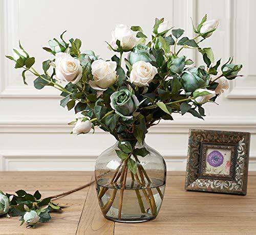 Juego de jarrón de Rosas Artificiales para decoración de Salones, restaurantes, hoteles, dormitorios, Estudios y Tiendas, diseño Floral de Rosas, Rose-g, Brand Set Rose-G