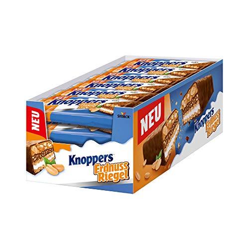 Knoppers ErdnussRiegel – 24 x 40g – Der erste ErdnussRiegel auf Knoppers Art – Mit knusprigen Waffeln, leckerer Milch- & Erdnusscreme & Erdnüssen in Karamell umhüllt von Vollmilchschokolade