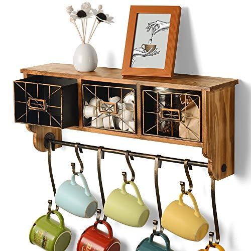 Perchero rústico de pared con ganchos, organizador de entrada, estante colgante para taza, taza de café, estante de madera maciza con 3 cestas para cocina, sala de estar o dormitorio, 7 ganchos curvos