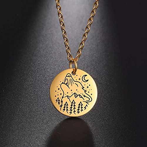 collar Colgante Collar con colgante de montaña con paisaje de lobo para mujeres y hombres, collar...