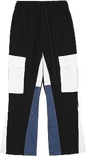 Luźne męskie spodnie, bawełniane męskie spodnie z blokami kolorów ze sznurkiem Oddychające, rozkloszowane spodnie dresowe ...