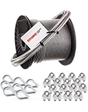 Seilwerk STANKE cuerda de acero inoxidable en cubierta de PVC, 50m cuerda inox V4A 3,5mm 7x7, 8x guardacabo de acero V4A, 16x abrazadera de acero V4A - SET 3