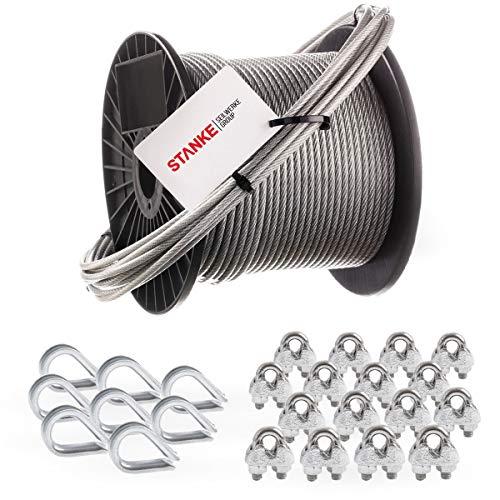 Seilwerk STANKE Rankhilfe PVC Drahtseil ummantelt verzinkt 50m Stahlseil 2mm 1x19, 8x Kausche, 16x Bügelformklemme - SET 3