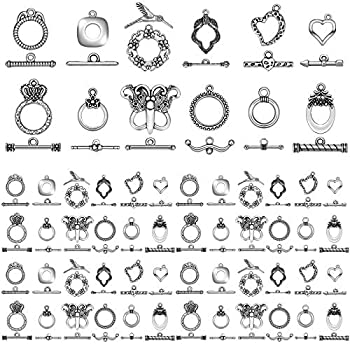 Inbagi 96 Pieces 12 Styles Tibetan Toggle Clasps Jewelry Making Clasps for Necklace Bracelet Jewelry Making DIY Crafts Supplies