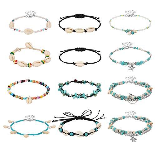 Finrezio 12PCS Anklets for Women Ankle Chains Bracelets Adjustable Boho Turtle Starfish Beach Ankle Bracelets Foot Jewelry Set Handmade