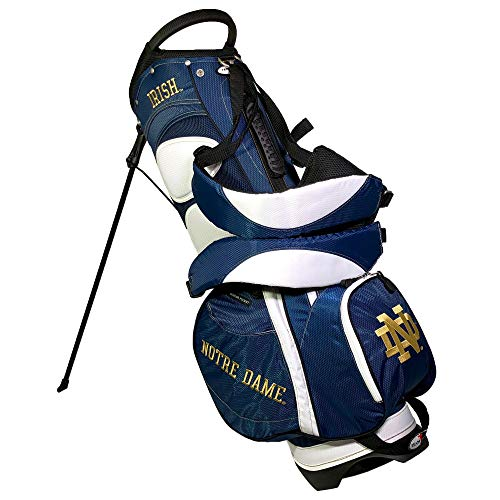 Team Golf NCAA Notre Dame Fighting Irish Fairway Golf Stand Bag, Lightweight, 14-way Top, Spring Action Stand, Insulated Cooler Pocket, Padded Strap, Umbrella Holder & Removable Rain Hood