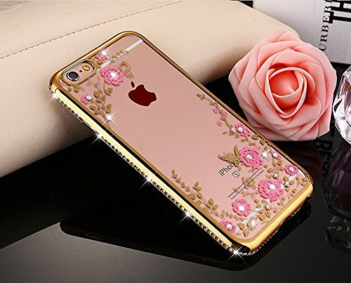 "iPhone 7 Case,Phezen iPhone 7 Glitter Crystal Plating Butterfly Floral Case, Luxury Diamond Rhinestone Soft Bumper Bling Clear TPU Case for iPhone 7 4.7"", Gold Pink Flower"