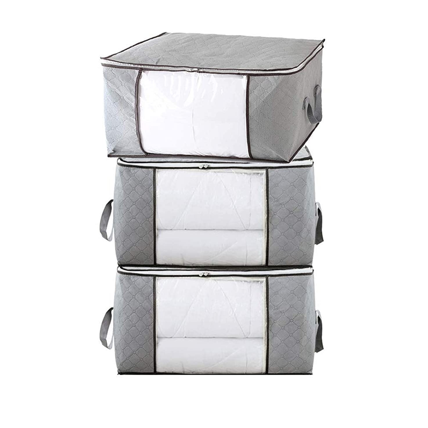 Fitwayhi Clothes Storage Bags Organizers with Clear Window, Large Capacity for Clothes, Blankets, Closets, Bedrooms, and More (Set of 3, Gray)