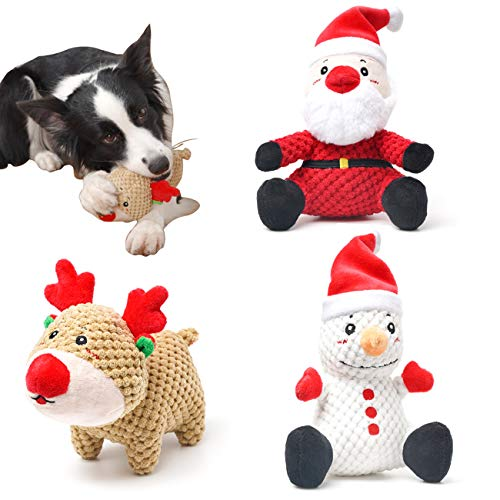 UNIWILAND Latest Christmas Squeaky Dog Toys Pack for Puppy, Durable Beef Flavored Stuffed Animal Plush Chew Toys with Squeakers, Cute Soft Pet Toys for Teeth Cleaning, for Small Medium Large Dogs
