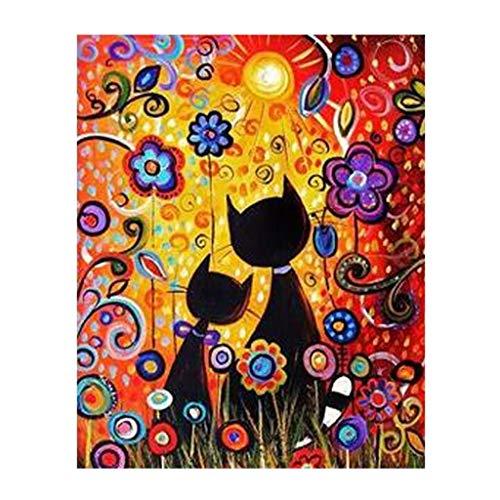 guangtian Malen Nach Zahlen Kits für Erwachsene Anfänger Kinder, 40 * 50 cm Creative DIY digitales Ölgemälde Leinwand Home Haus Dekor-Anime Katze(Ohne Rahmen)