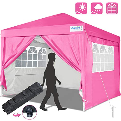 Quictent Silvox 10x10 EZ Pop Up Canopy Party Tent Instant Gazebo Portable with 4 Sides & Roller Bag Waterproof (Pink)