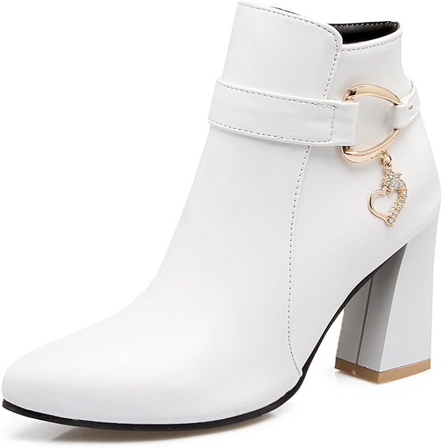 BalaMasa Womens Zipper Solid Mid-Top Pointed-Toe Chunky Heels White Urethane Boots ABL09713 - 8 B(M) US