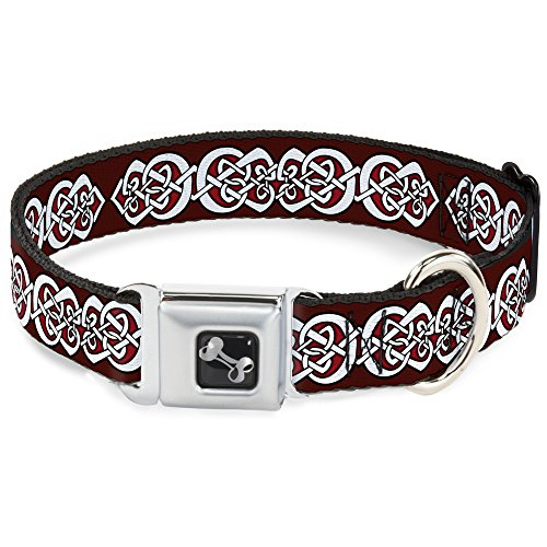 Buckle-Down DC-W38103-L Seatbelt Dog Collar, Large, Celtic Knot5 Reds/Black/White