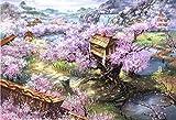 CNstory Mini Puzzles de 1000 Piezas en Miniatura DIYpara Adultos Sakura Villa de cartón Resistente Desafío de Ejercicio Cerebral Juego de Alta dificultad Regalo para Niño 38*26cm