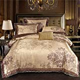 PYCLIFE Lace Jacquard Duvet Cover,Luxury Bedding,Elegant 3-Piece Duvet Covers,Bedding Sets Full Size,No Comforter.(Champagne Gold ,King)