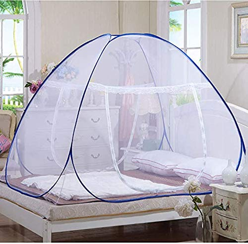 zhezuo Pop Up Mosquito Net Portable Folding Mosquito Net Tent with Bottom for Adult Bed, Canopy Trip Insect Fly Screen,Bedroom Mosquito Netting (Blue)