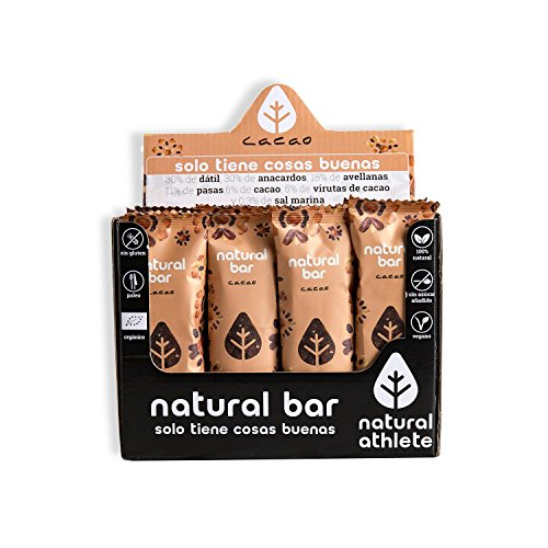 Barritas Energéticas Cacao Natural Athlete, Sin Azúcar Añadido, 100% Natural y Orgánicas, Sin Gluten, Vegana -Pack 12x40 g