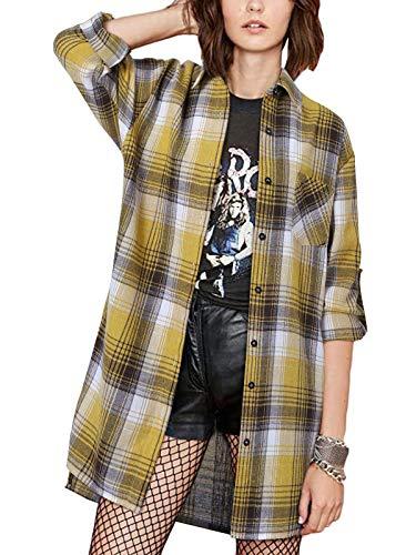 ZANZEA Blusa informal para mujer, de manga larga, con botones, cuello con bolsillo