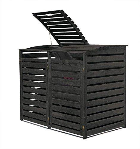 *Gero metall Mülltonnenbox Holz Anthrazit für Zwei 240 Liter Mülltonnen*