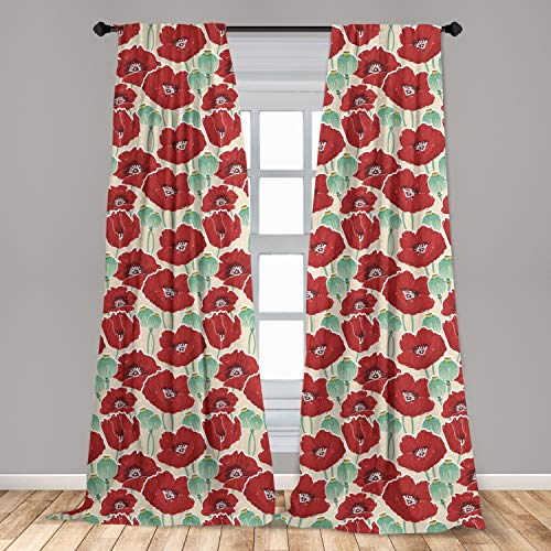 Ambesonne Poppy Flower Curtains, Spring Garden Pattern with Red Blossoms Capsules and Little Dots, Window Treatments 2 Panel Set for Living Room Bedroom Decor, 56