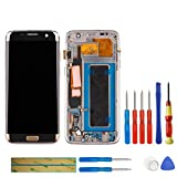 swark Pantalla táctil Super AMOLED compatible con Samsung Galaxy S7 Edge SM-G935F (dorado con marco), digitalizador + herramientas (versión europea)