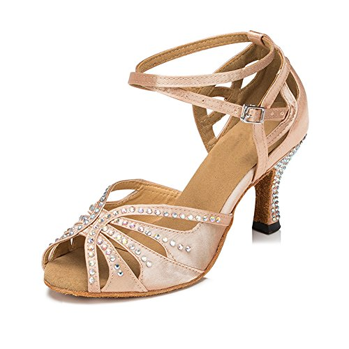 TTdancewear Women Rhinestone Ballroom Latin Salsa Performance Dance Shoes (7.5, Nude-2.5inch...