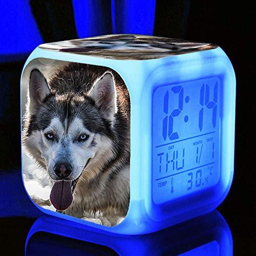 HHCYY Hund Kids Digital Wecker Wecker Digital Kinder Mädchen Süße Tiere Wake Up Lichtwecker Wake Up Light Alarm Clock Nachtwecker Digital Batterie (Z74)