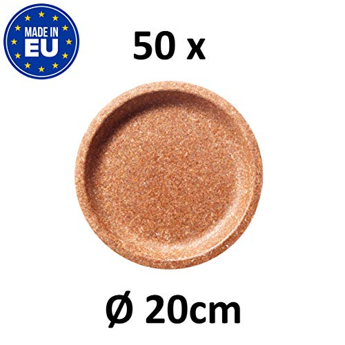 BIOTREM Einwegteller aus 100% Weizenkleie Nachhaltiger Einmalteller für Parties, zum Campen oder für unterwegs – Teller mit 20 cm Durchmesser – Made in EU – (50 Stück)